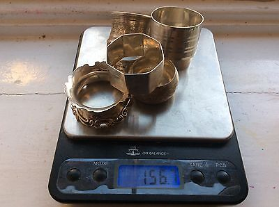 A GOOD JOB LOT OF SEVERN  ANTIQUE STERLING SILVER NAPKIN RINGS 155 grams