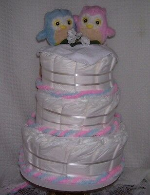 BABY SHOWER Boy Girl Diaper Cake Party Favor Centerpiece OWL Gender Reveal Twins