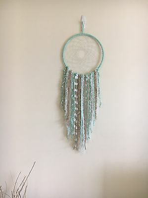 Large Beige, Mint And White Dream Catcher Hand Made