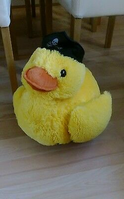 large duck soft toy wearing pirate hat