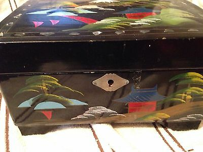 Japanese vintage lacquered musical box with mother of pearl inlay