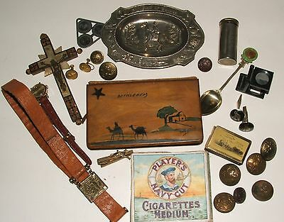 Mixed Lot of Vintage silver, cuff links, olive wood, brass buttons Bits & Bobs