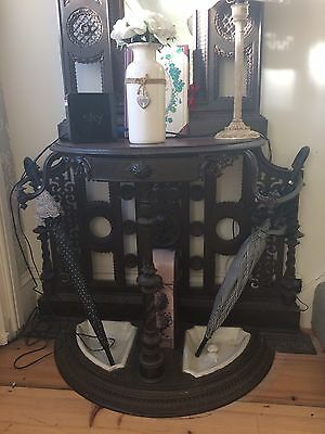 Genuine Victorian Cast-Iron Umbrella And Hat Stand With Mirror