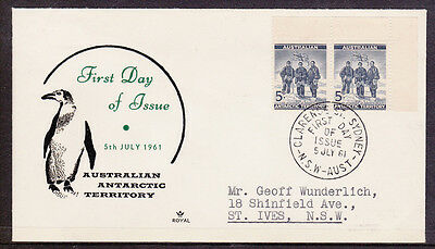 1961 5d BLUE ANTARCTICA DEFINITIVE  PAIR  OF  STAMPS  FIRST DAY COVER