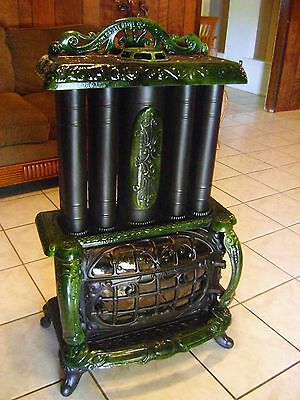 Antique Triple Effect Parlor Stove Green Enameled Cast Iron -------Beautiful