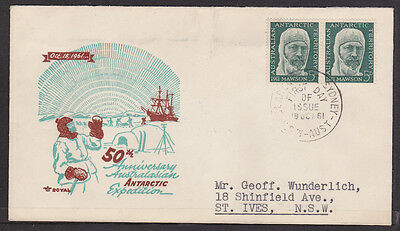1961 5d GREY GREEN MAWSON  PAIR OF  STAMPS  FIRST DAY COVER