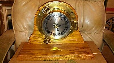 "VINTAGE MARINE SHIP BAROMETER  RAIN- CHANGE-FAIR "" Compensated "" Made in Germany"