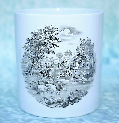 Copeland Spode Pottery England Beaker, blue with transfer printed rustic scene