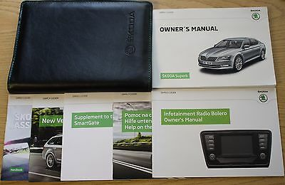 Skoda Superb Handbook Owners Manual Wallet Radio Bolero 2015-2016  Pack 12198