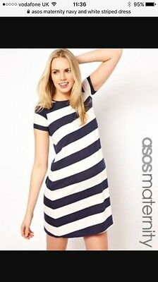 Asos Maternity 14 Navy And White Striped Dress Bnwt