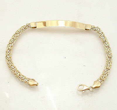 All Shiny Byzantine ID Identity Bracelet Real 14K Yellow Gold 3.8gr FREE SHIP