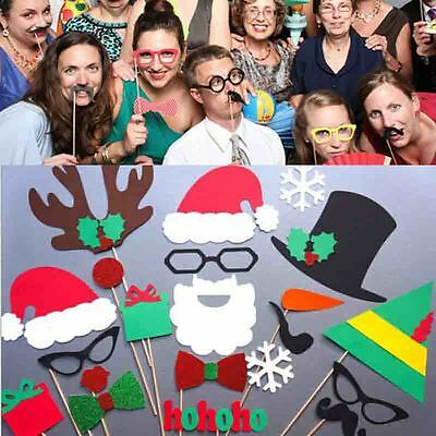 17x Christmas Photo Props Mustache On A Stick Wedding Birthday Party Decor UK