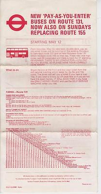 Route 131 London Transport Bus Timetable Lft May 1973