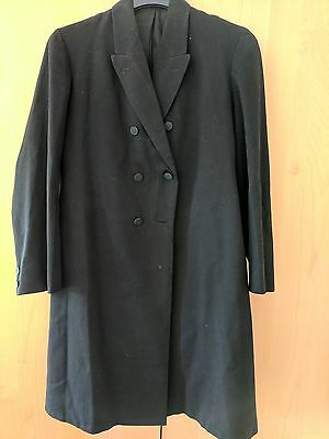 "Vintage Black Wool Frock Coat 36"" Goth Steampunk Victorian Cosplay"