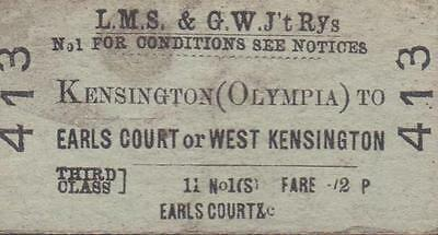 LMS & Great Western JOINT Railway Ticket KENSINGTON OLYMPIA 413