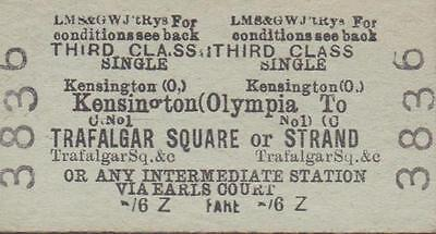 LMS & Great Western JOINT Railway Ticket KENSINGTON OLYMPIA 3836