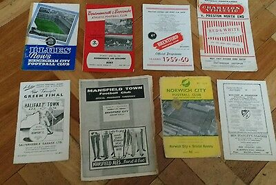 Football Programmes x 8 from 1950,s and early 1960's