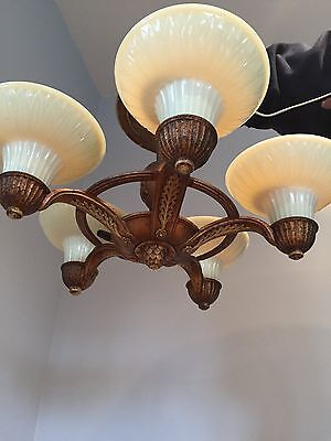 Antique Art Deco Cast Iron Chandelier Custard Glass Shades Ceiling Light Fixture