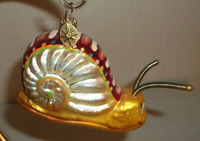 Christopher Radko Snail Christmas Ornament  with spring antennae - ADORABLE!!!
