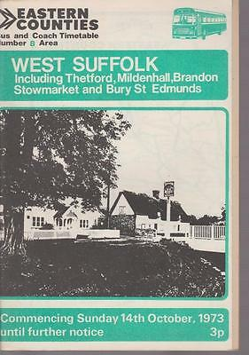 Eastern Counties Bus Timetable Book West Suffolk Oct 1973