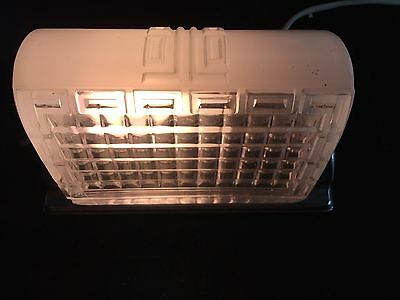 Art Deco Porcelain Bathroom Light Fixture Sconce Lamp Glass Shade & Outlet