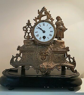 Ornate French antique mantle clock ormolu gilt brass gold