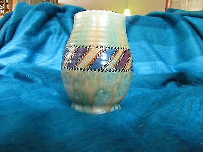 Lovely Patch & Stitch Crown Ducal Vase England possibly Charlotte Rhead Art Deco
