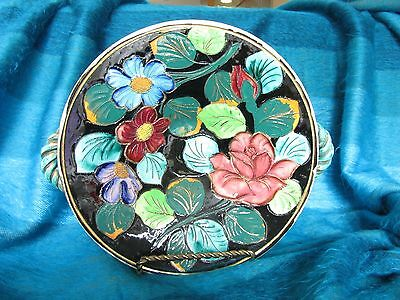 Colourful Floral Vallauris Serving Platter Majolica Barbotine HP France Signd