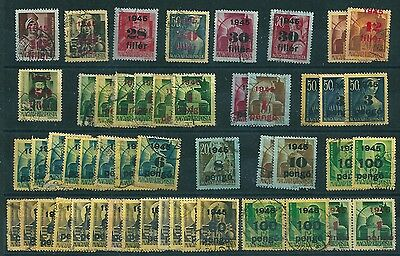 7956 Hungary 1945 Provisional Stamps Used Overprint 50 pcs