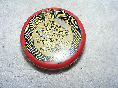 Vintage O.k. Hair Dressing In Tin Old Barber Hair Styling
