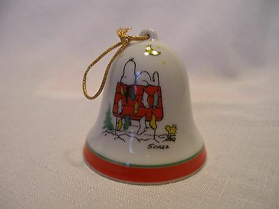 Vintage Peanuts Snoopy on dog house w/ stockings Christmas Bell Ornament