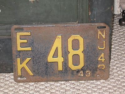 Collectible License Plate N.J. 1942/43