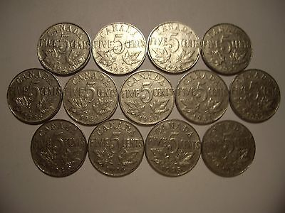 E Canada George V Five Cents - Lot of 13 Coins