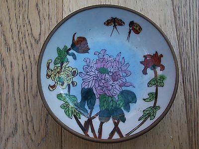 Rare Unusual Brass Backed Mounted Hand Painted China Saucer