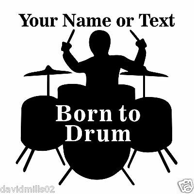Drummer Silhouette Self Adhesive Sign Sticker