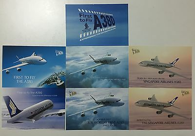 7 Singapore Airlines A380 Postcards All Different - Airline Issue