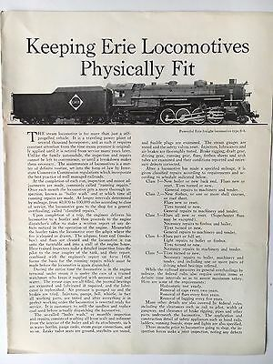 """1940s Erie Railroad Brochure """"Keeping Erie Locomotives Physically Fit"""""""