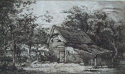 SMITH OF CHICHESTER? - ORIGINAL 18th CENTURY OLD MASTER ETCHING - ANGLER BY BARN