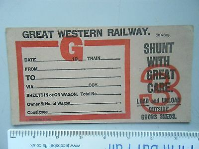 GWR Blank Wagon Label,Shunt with Great Care