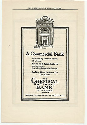 Vintage, Original 1922 - The Chemical National Bank of New York Advertisement