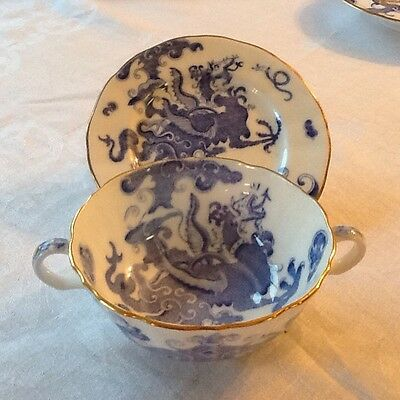 Stunning Royal Worcester Blue Dragon Two Handled Soup Bowl & Small Plate