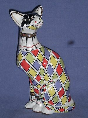 "Paul Cardew Cool Catz Harlequin ""sitting Cat"" Boxed Perfect Condition"