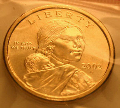 2002-D Sacagawea Native American Dollar From Mint Set Golden