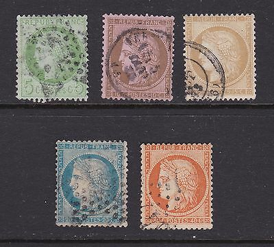 FRANCE; 1870 Ceres selection of 5 fine used stamps
