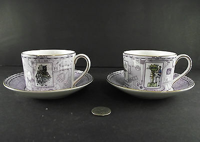 2 Wedgewood Millennium Coffee Or Tea Cups Bone China England Beatles Steampunk