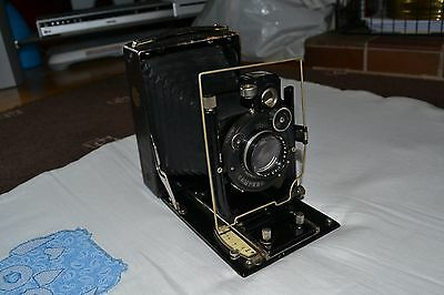 Zeiss Ikon Ica Icar 180 Folding Flat Bed 9x12 Camera Dominar 13.5cm f/4.5