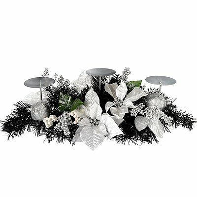 Christmas Decorated Table Centre Piece 52 cm with 3 Pillar Candle Holder