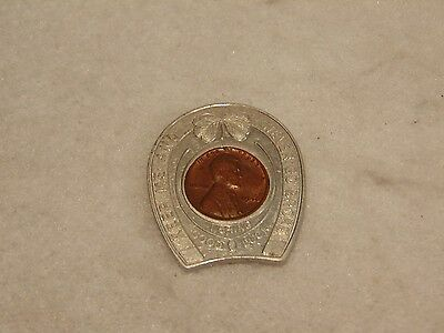 Vintage Good Luck 46' Wheat Penny 4 Leaf Clover Advertising Harold's Club Token