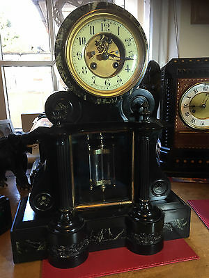 Magnificent Victorian French Slate And Green Marble Mercury Pendulum Clock