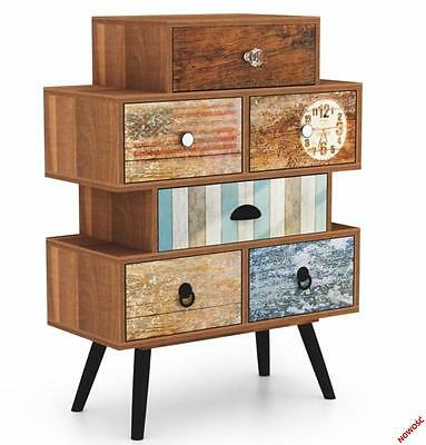 Chest of Drawers Bedroom Furniture Unit Wooden Bedside Storage Cabinet. Retro